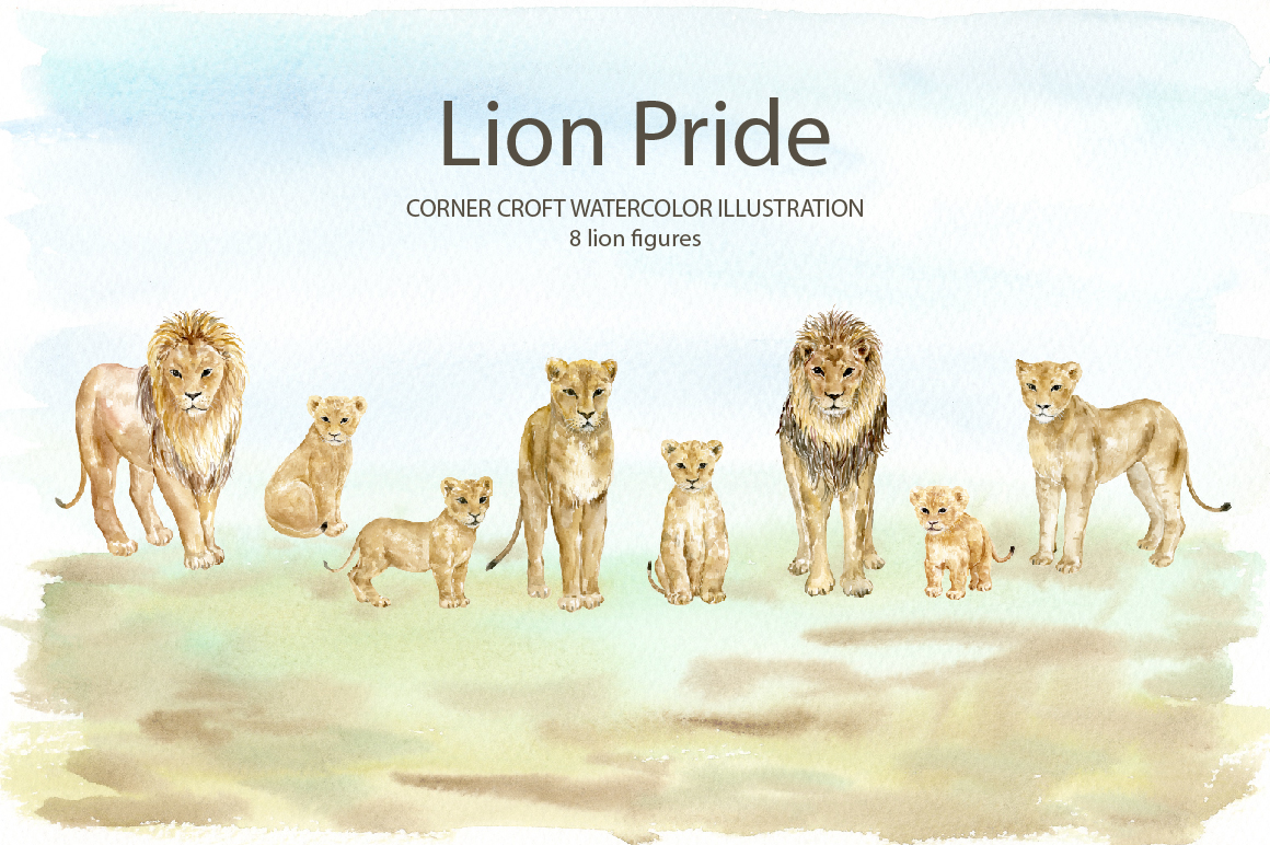 Watercolor clipart lion pride for instant download example image 2