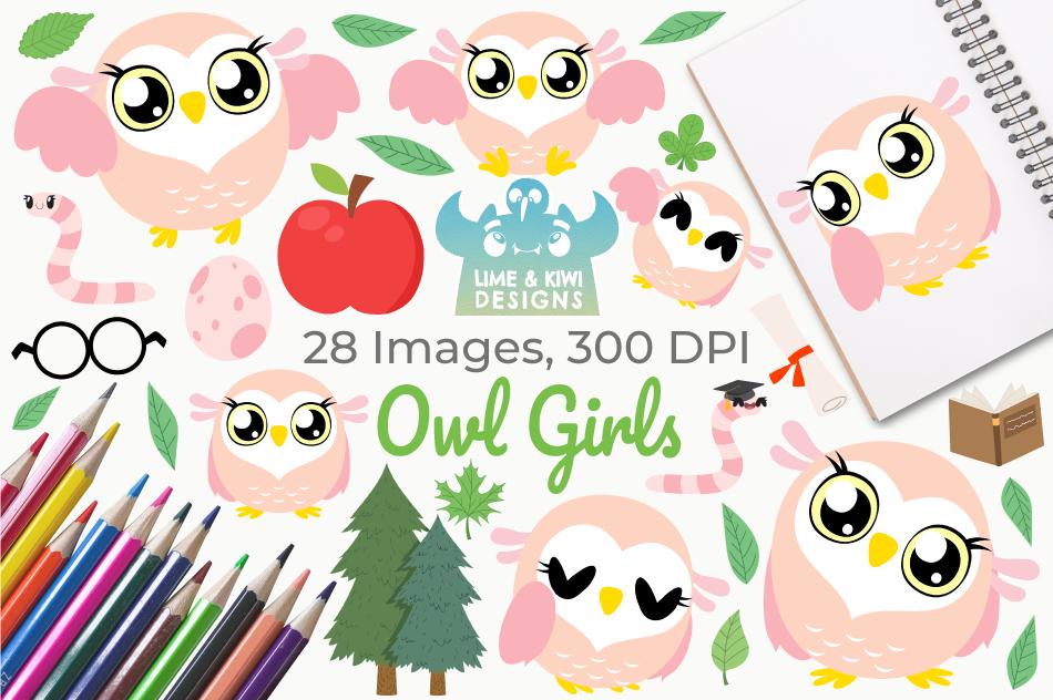 Owl Girls Clipart, Instant Download Vector Art example image 1