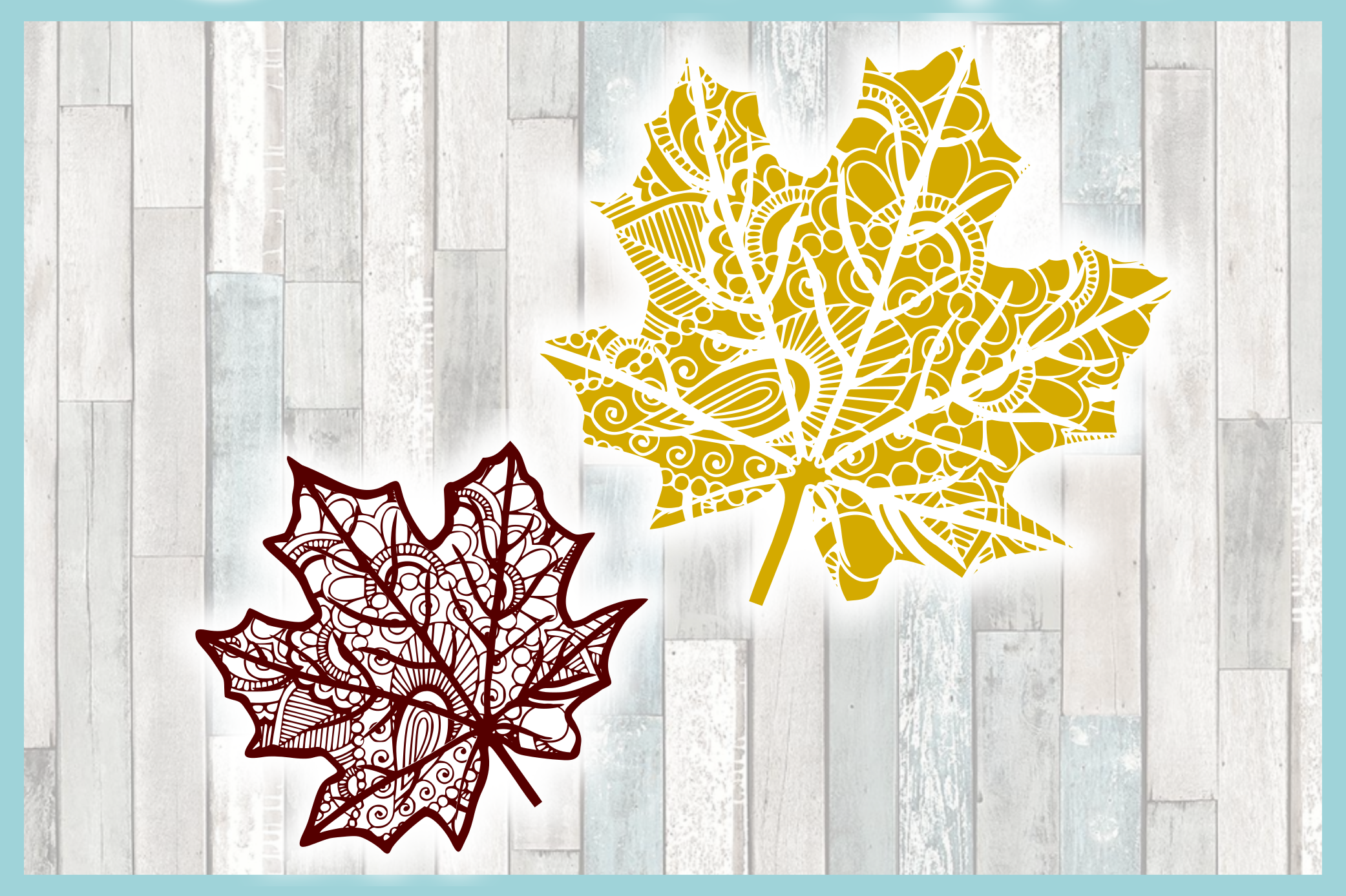 Fall Leaf Mandala Zentangle SVG example image 3