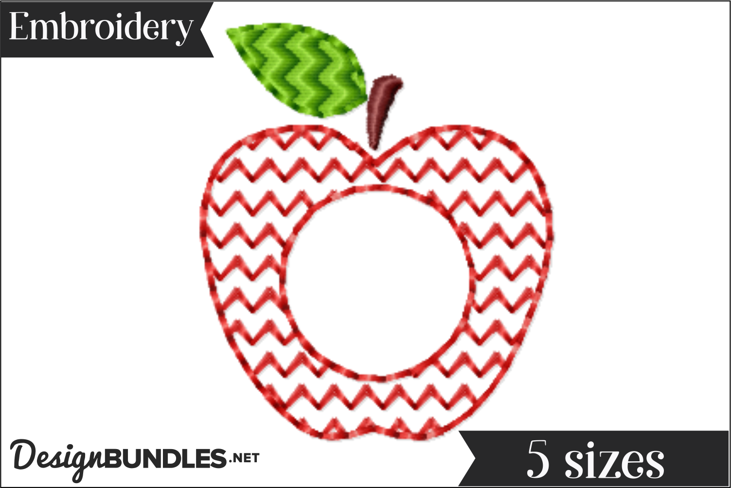 Apple Monogram Frame Embroidery Design example image 1