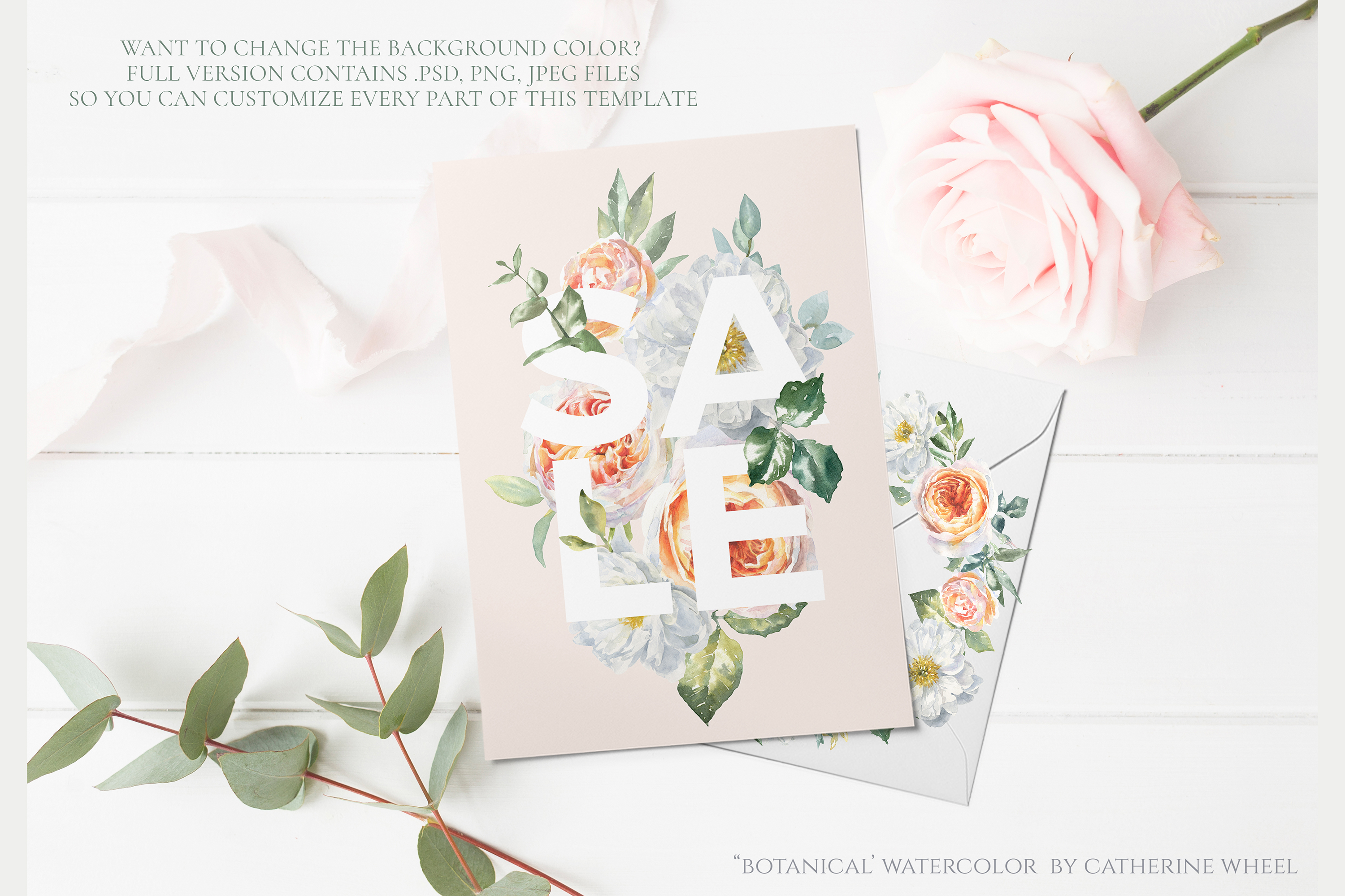 FREEBIE Floral Typography Free Botanical graphics example image 7