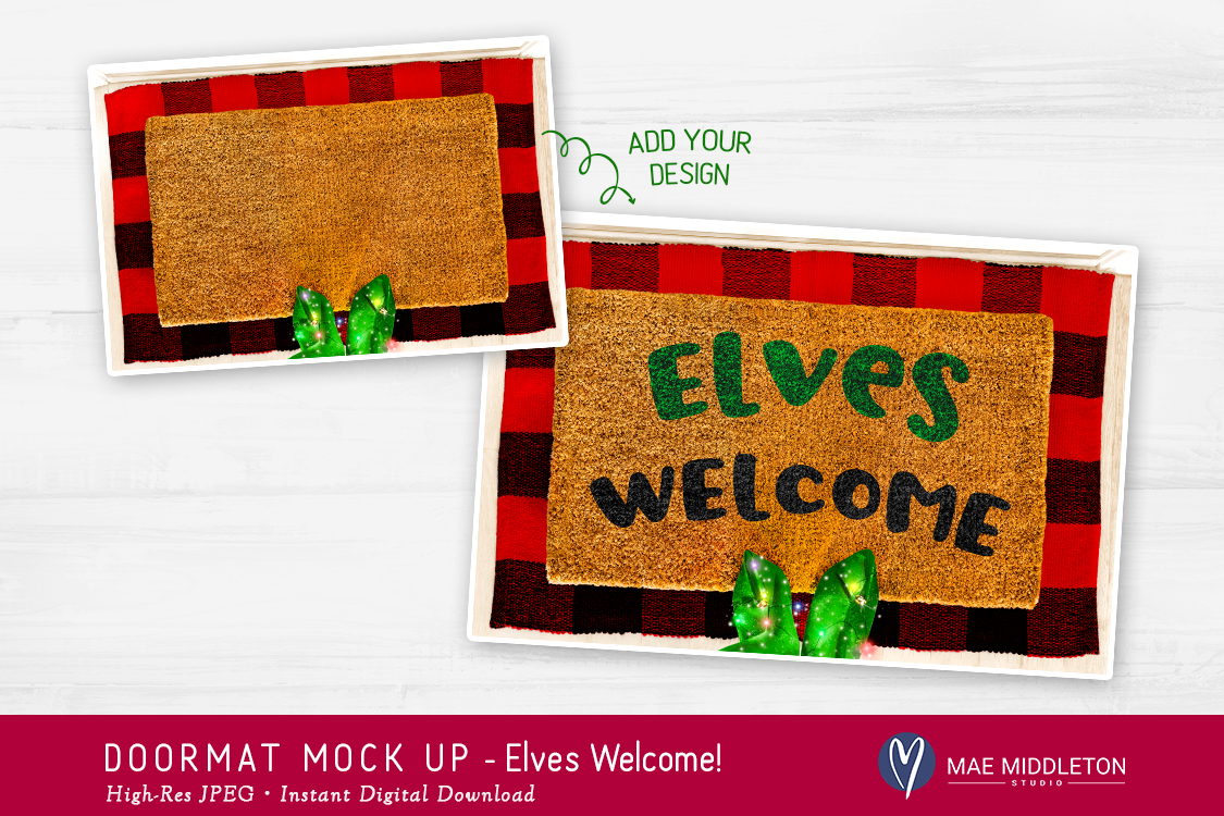 Doormat mock up for Christmas - Elf, styled photo example image 2
