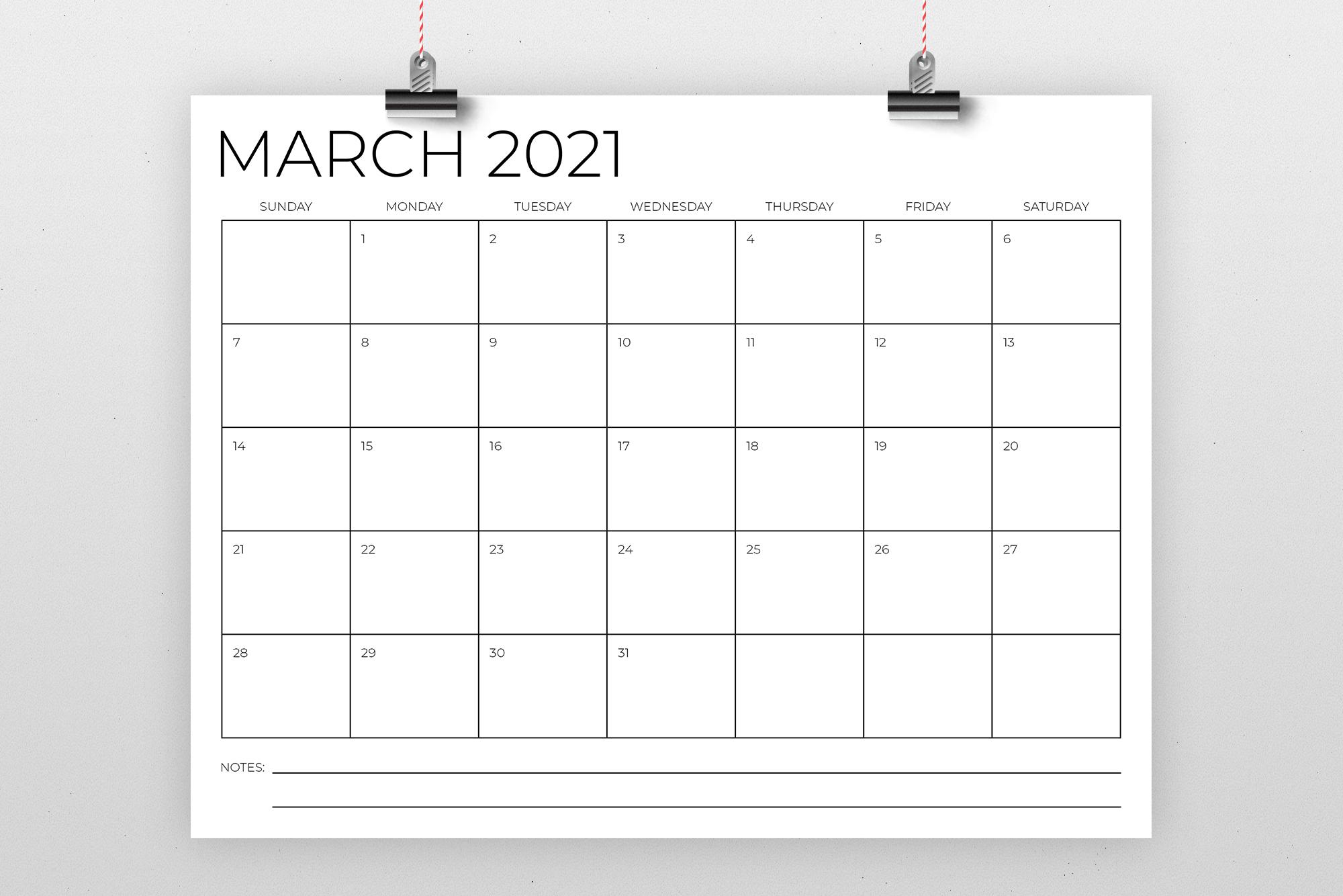 8.5 x 11 Inch Minimal 2021 Calendar example image 2