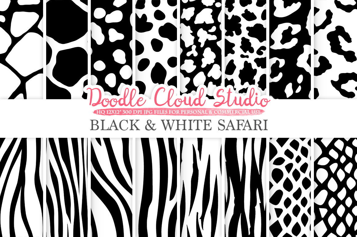 Black and White Animal Safari digital paper, Fur pattern, Giraffe Zebra Leopard Snake Tiger backgrounds for Personal & Commercial Use example image 1
