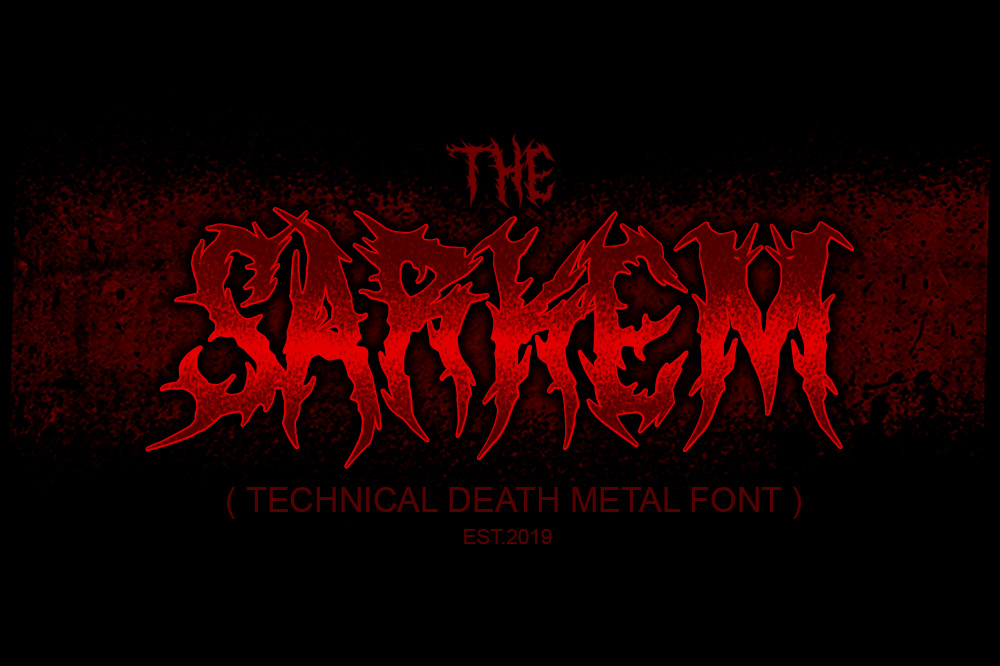 SARKEM TECHNICAL DEATH METAL FONT example image 1