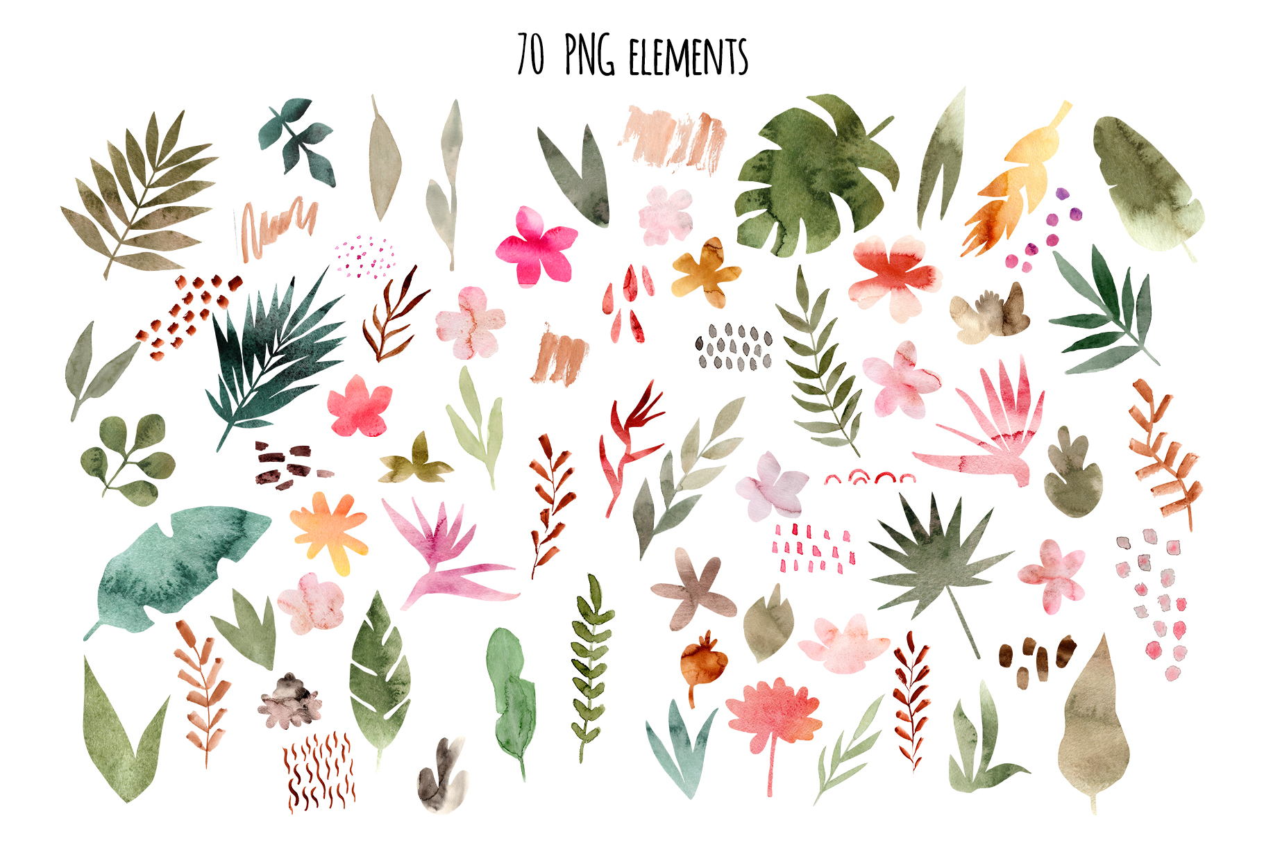 Tropical Collage. Patterns, Cliparts example image 3