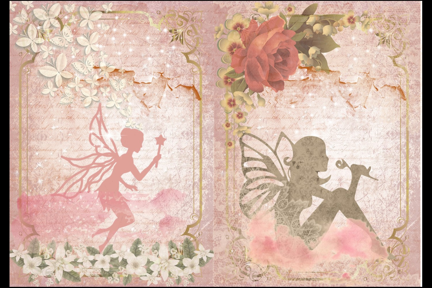 Fairy Mega Bundle. 24 backing papers 80 piece total CU example image 3