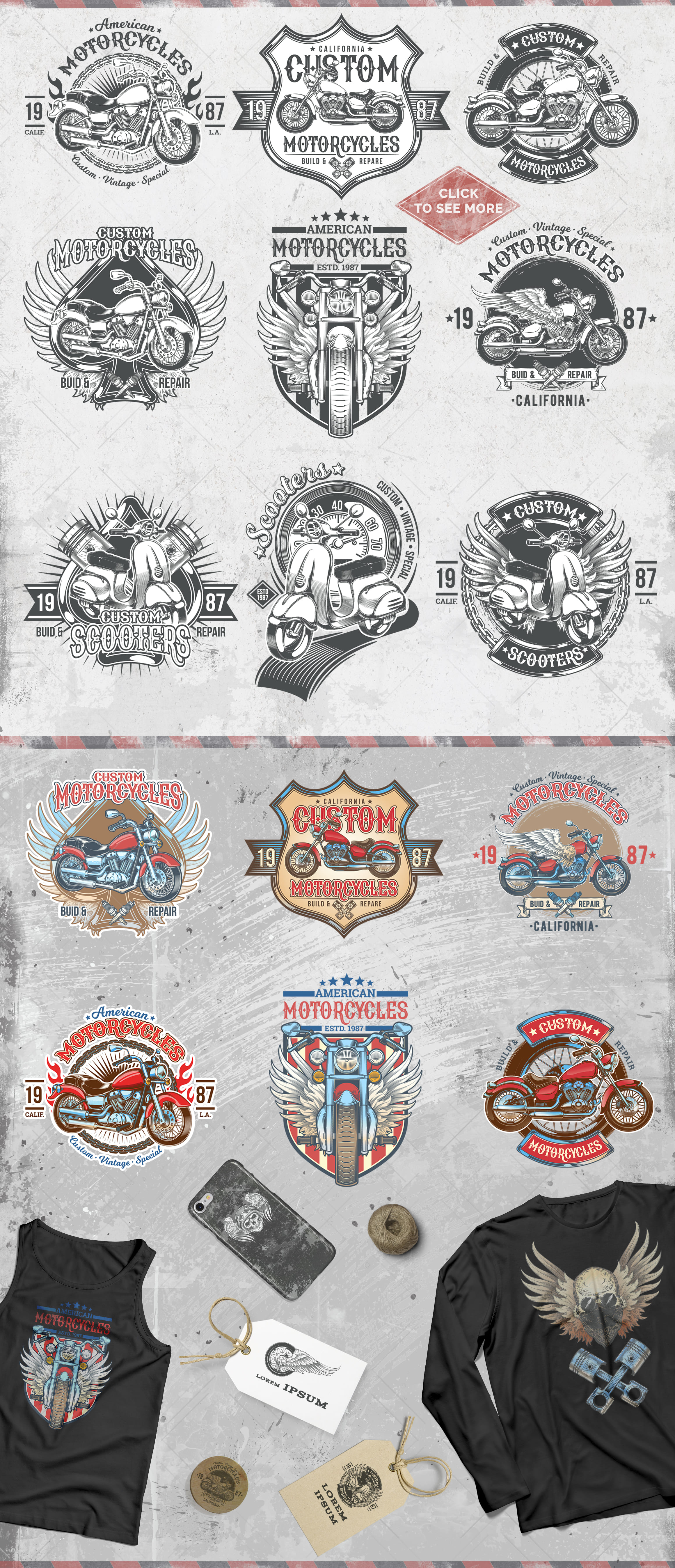 Vintage motorcycle, skulls and labels example image 7