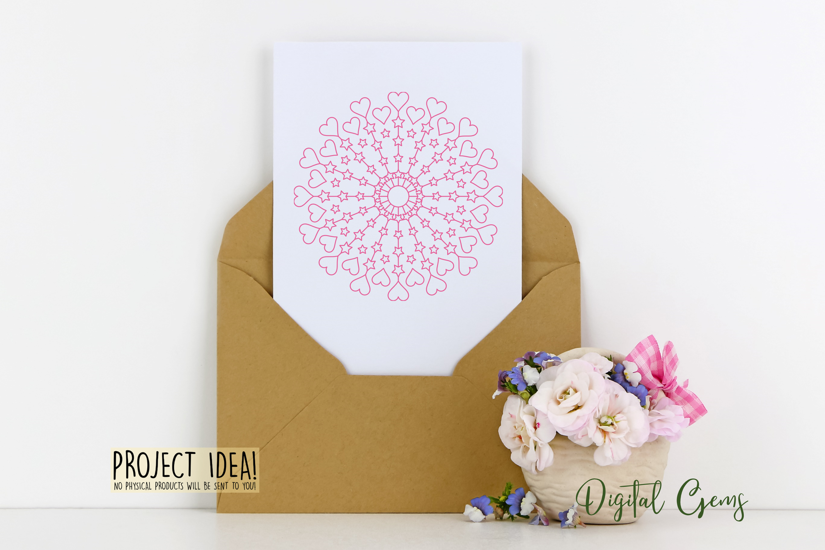 Heart and star mandala, single line sketch / foil quill file example image 2
