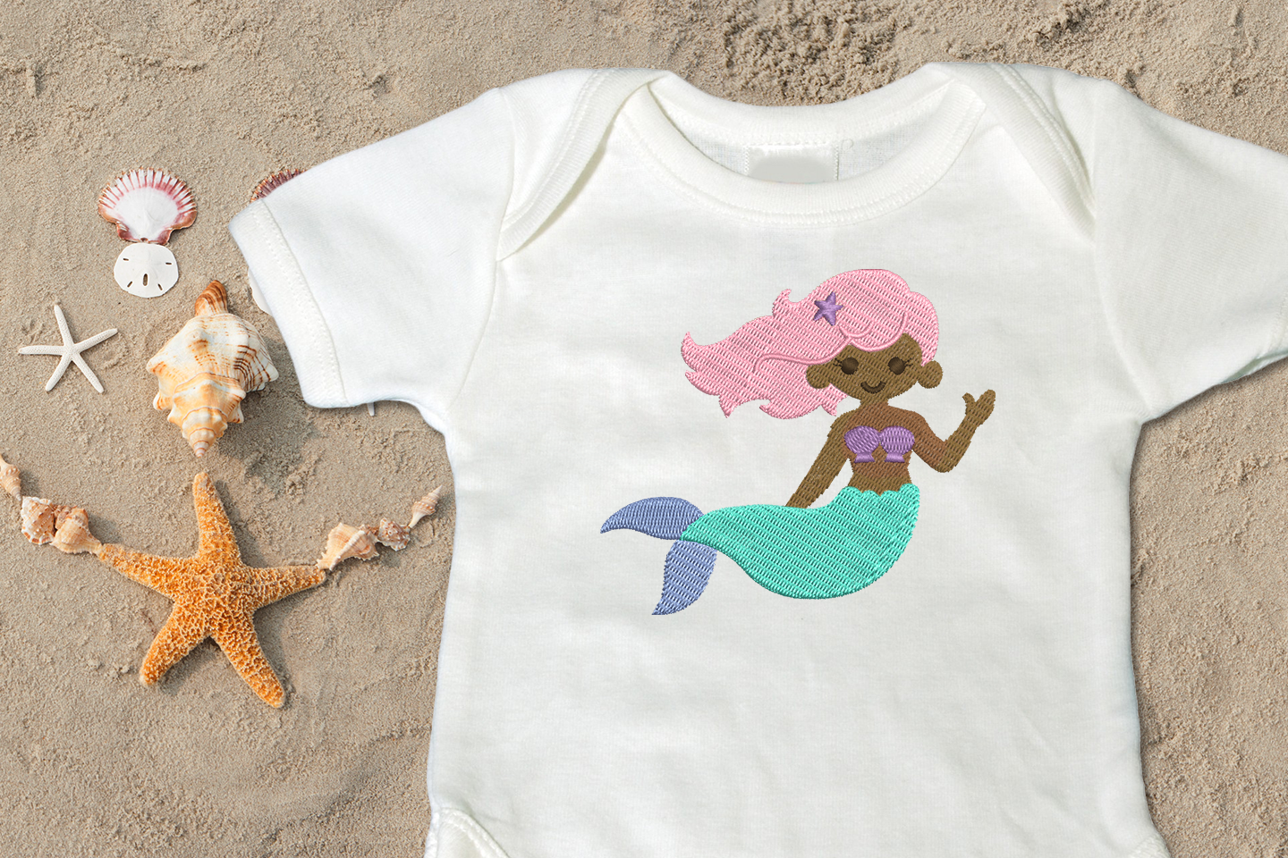Mermaid Applique Embroidery Design example image 2