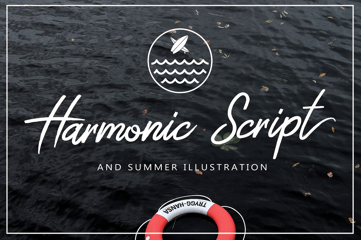 Harmonic Script With Summer Illustration Package Bundle example image 1