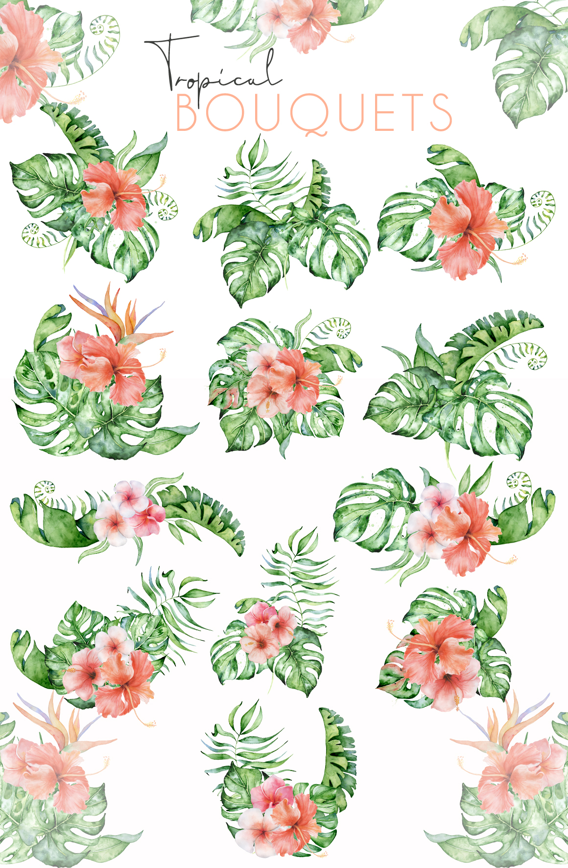 Mistery Monstera - tropical leaves watercolor illustration example image 28