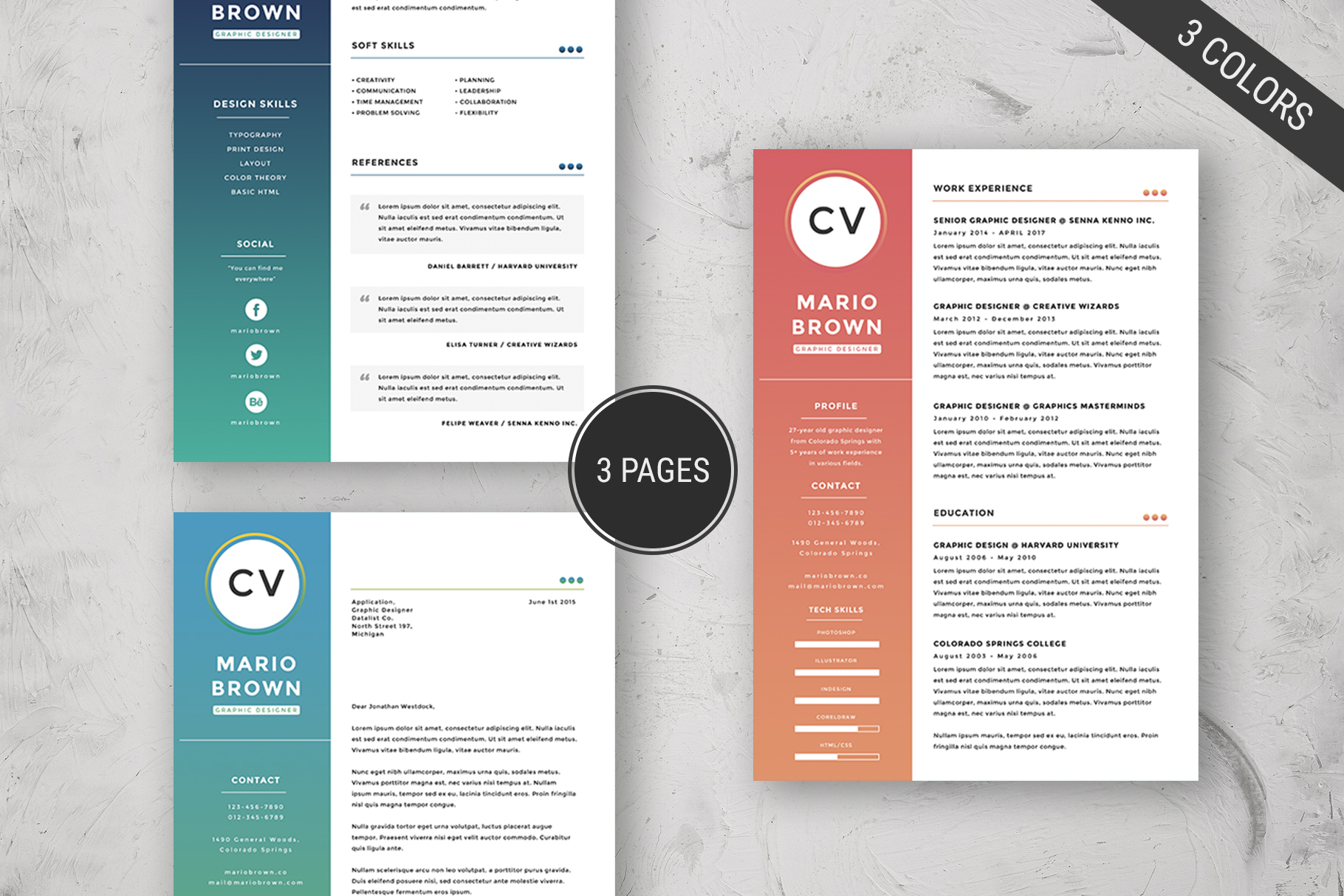 Resume Template 3 pages   CV example image 4