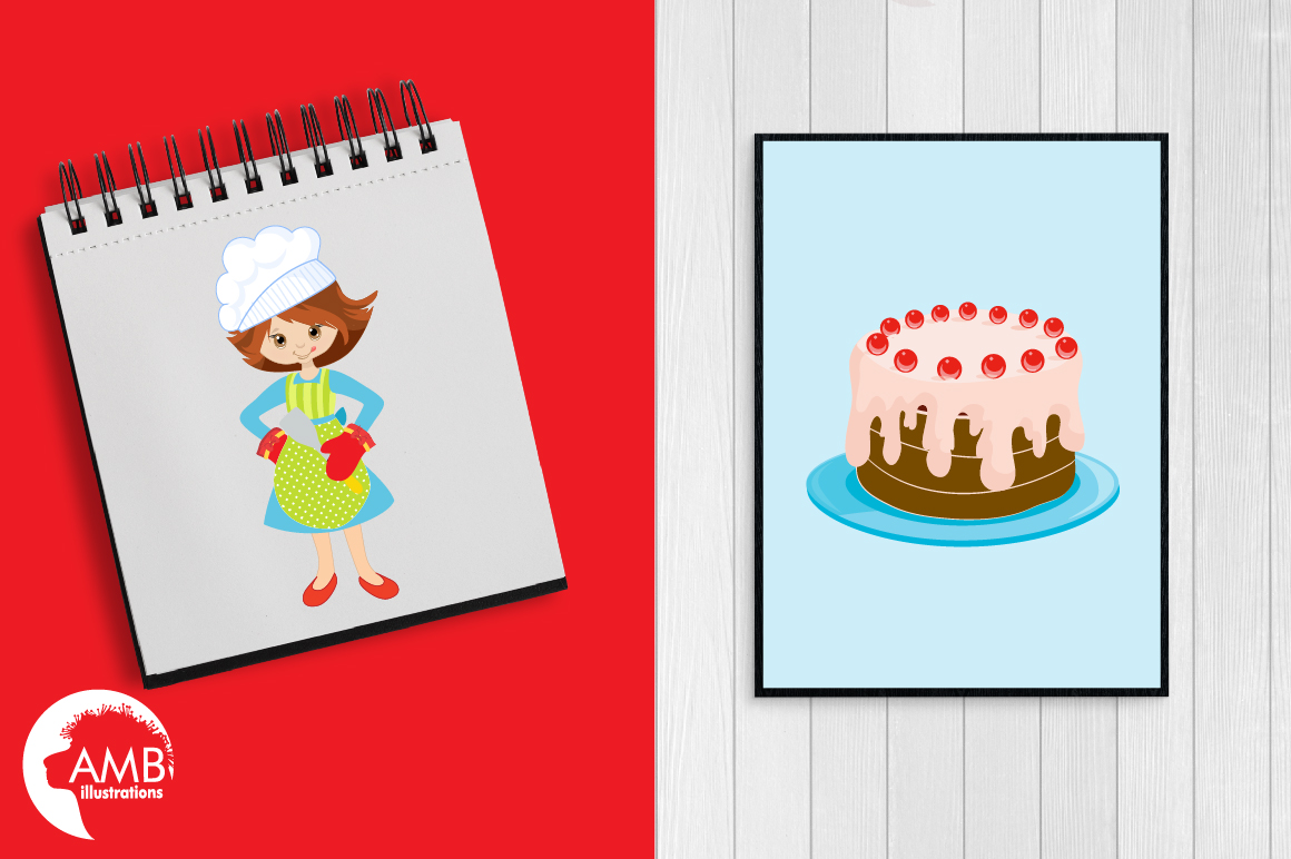Baking clipart, cooking clipart, Girl chefs clipart, graphics and illustrations AMB-1102 example image 4