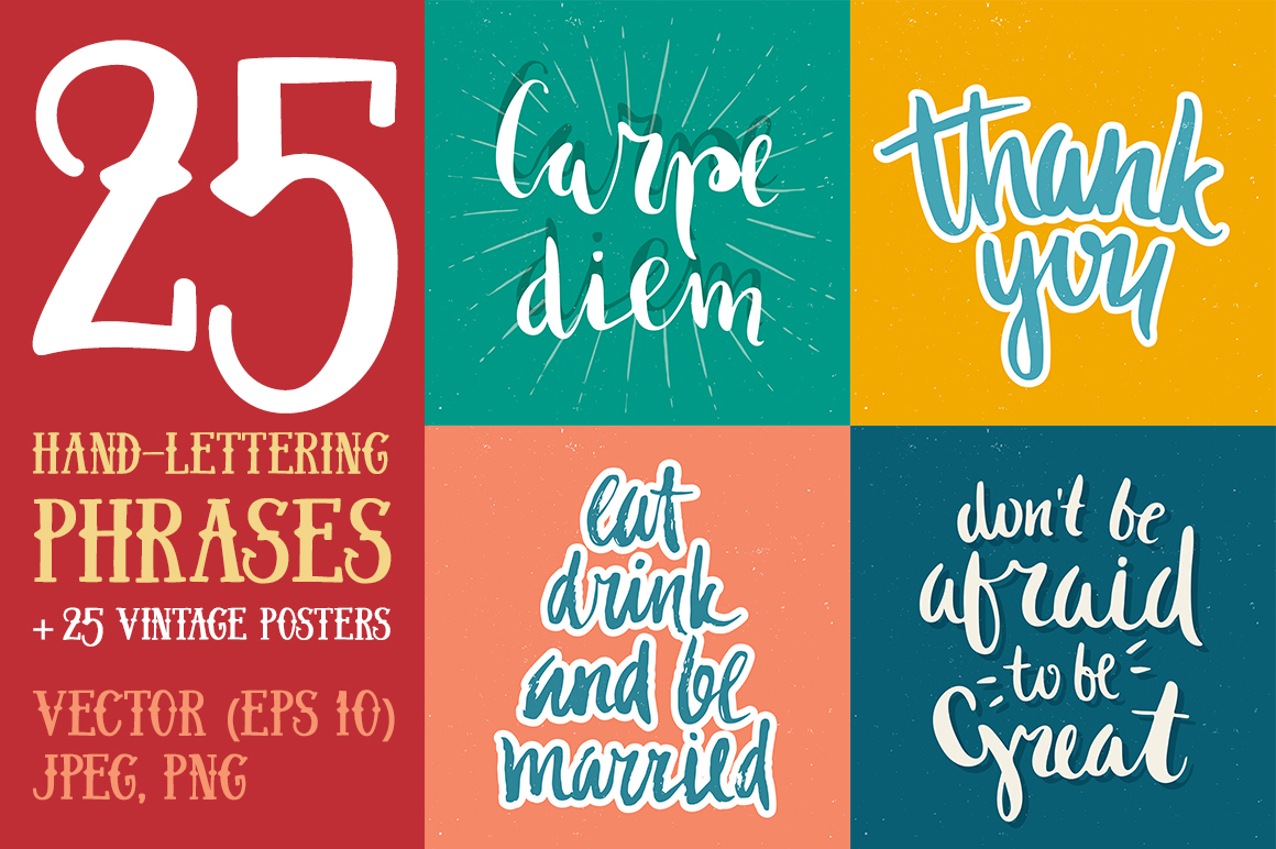 25 Hand Lettering Phrases & Posters example image 1