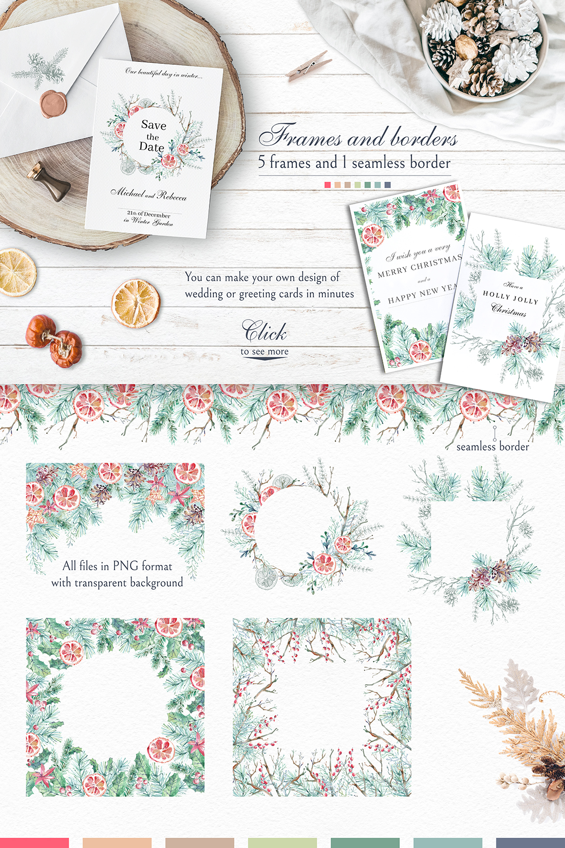 Cozy CHRISTMAS. Watercolor graphic kit. example image 7