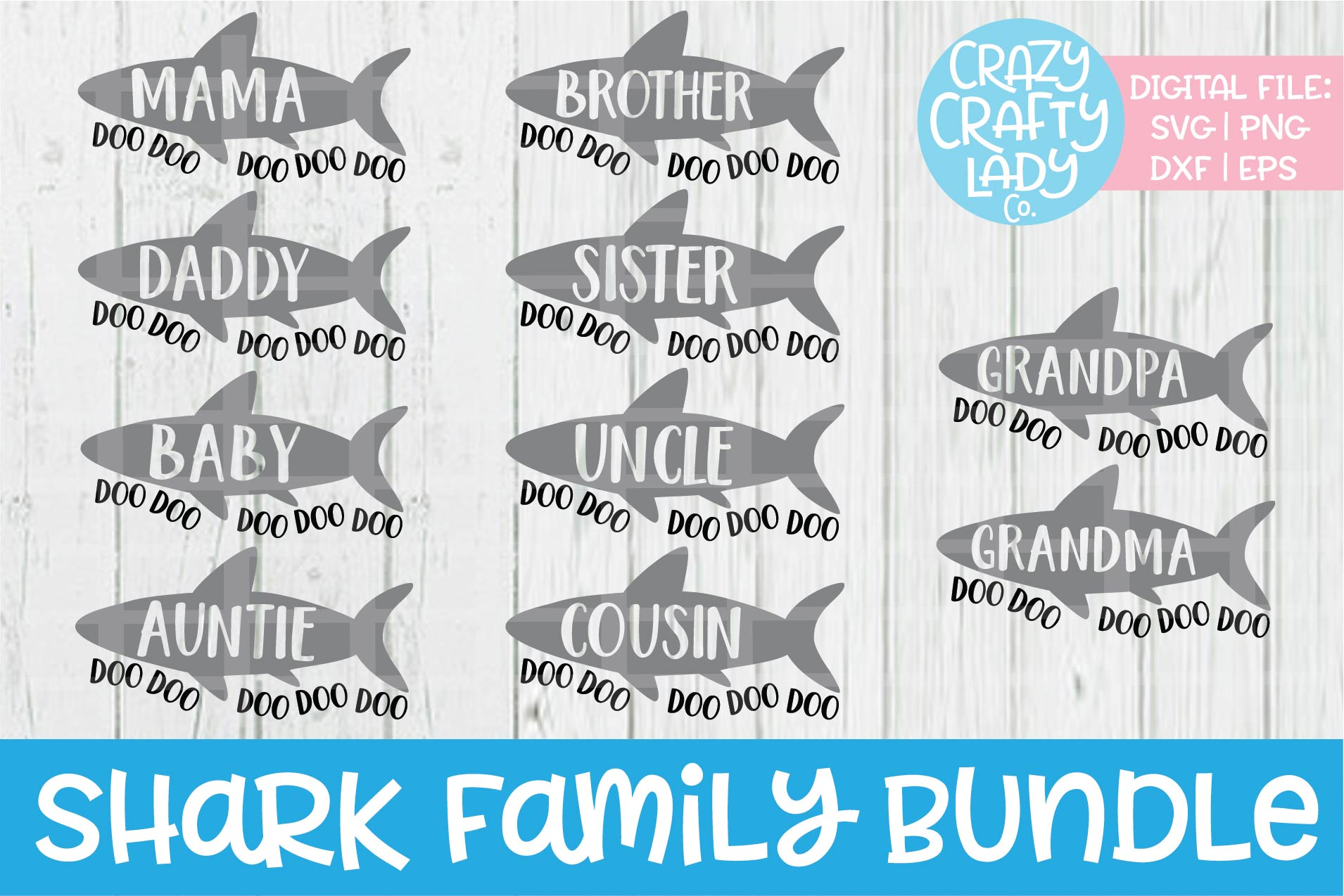 Shark Family Bundle SVG DXF EPS PNG Cut Files example image 1