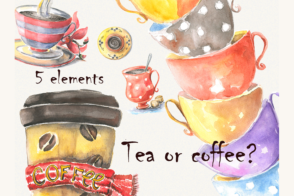Cup clipart, cofee cup, watercolor cup, cup of tea example image 1