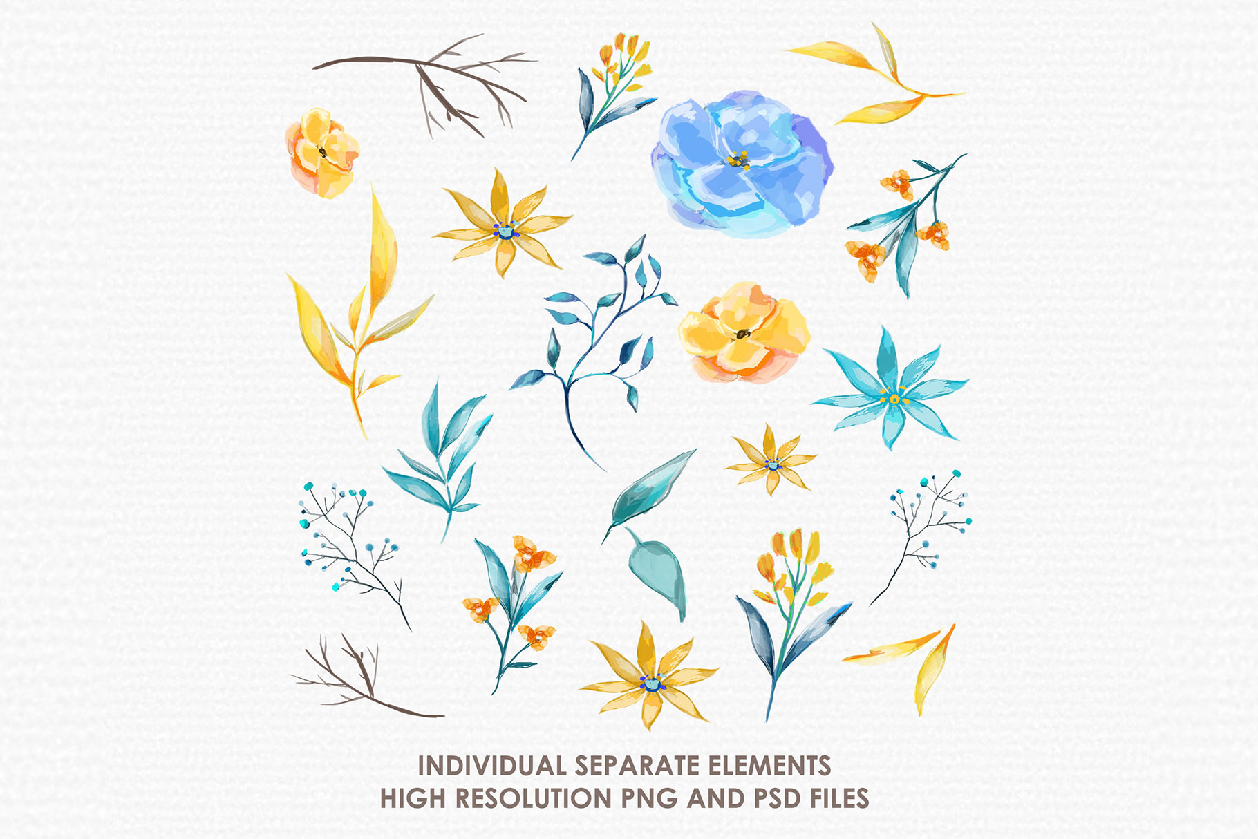 Blue Alamanda - Watercolor Floral Flower Style Clipart example image 2