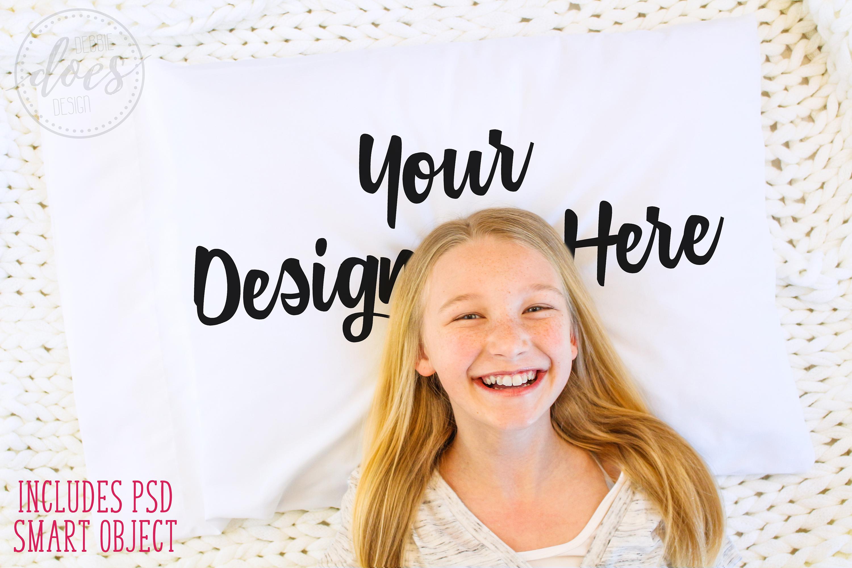 White Pillowcase Mockup with Girl| Smart Object Mock-Up example image 1