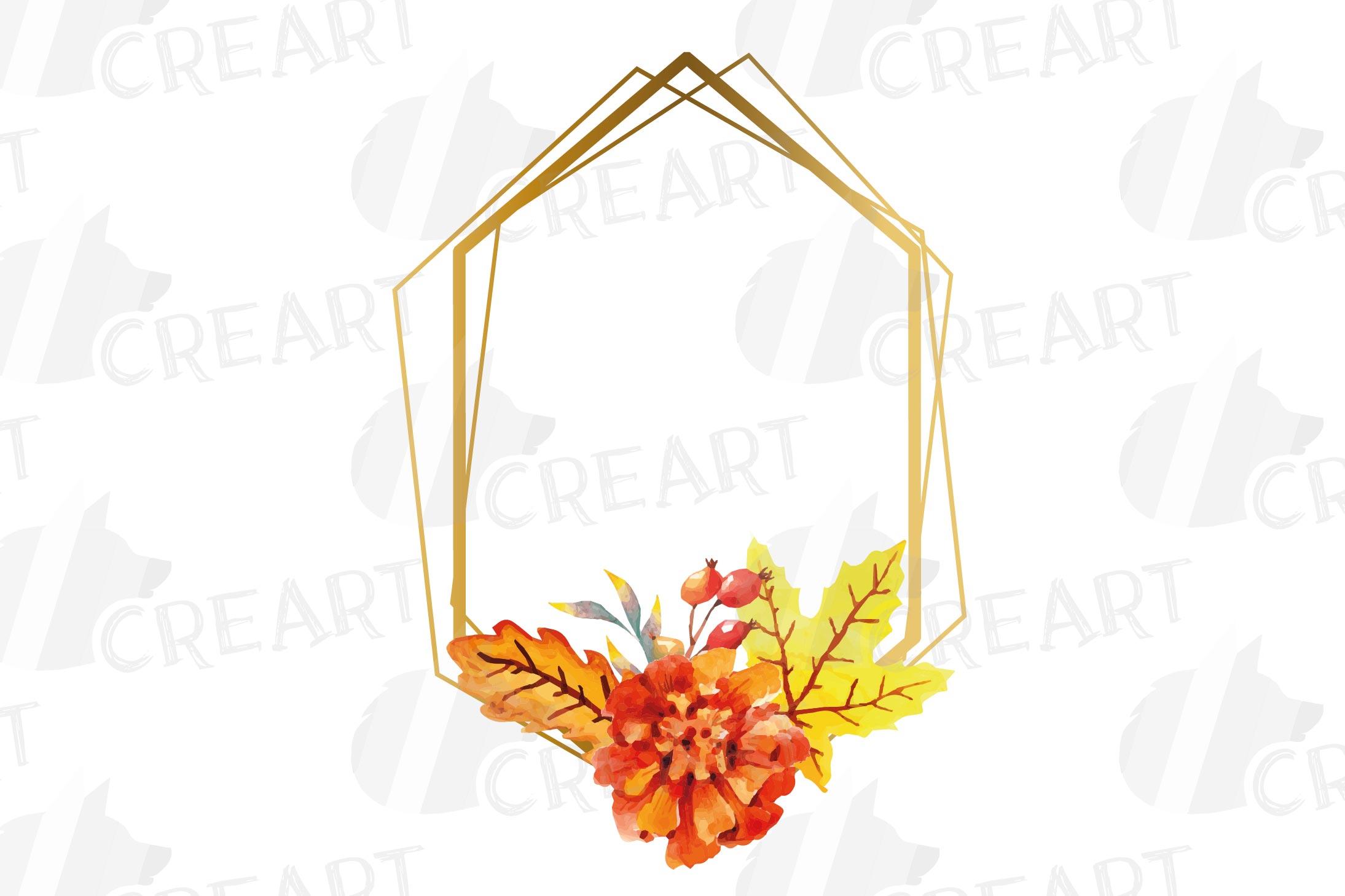 Watercolor elegant autumn geometric golden frame templates. example image 21