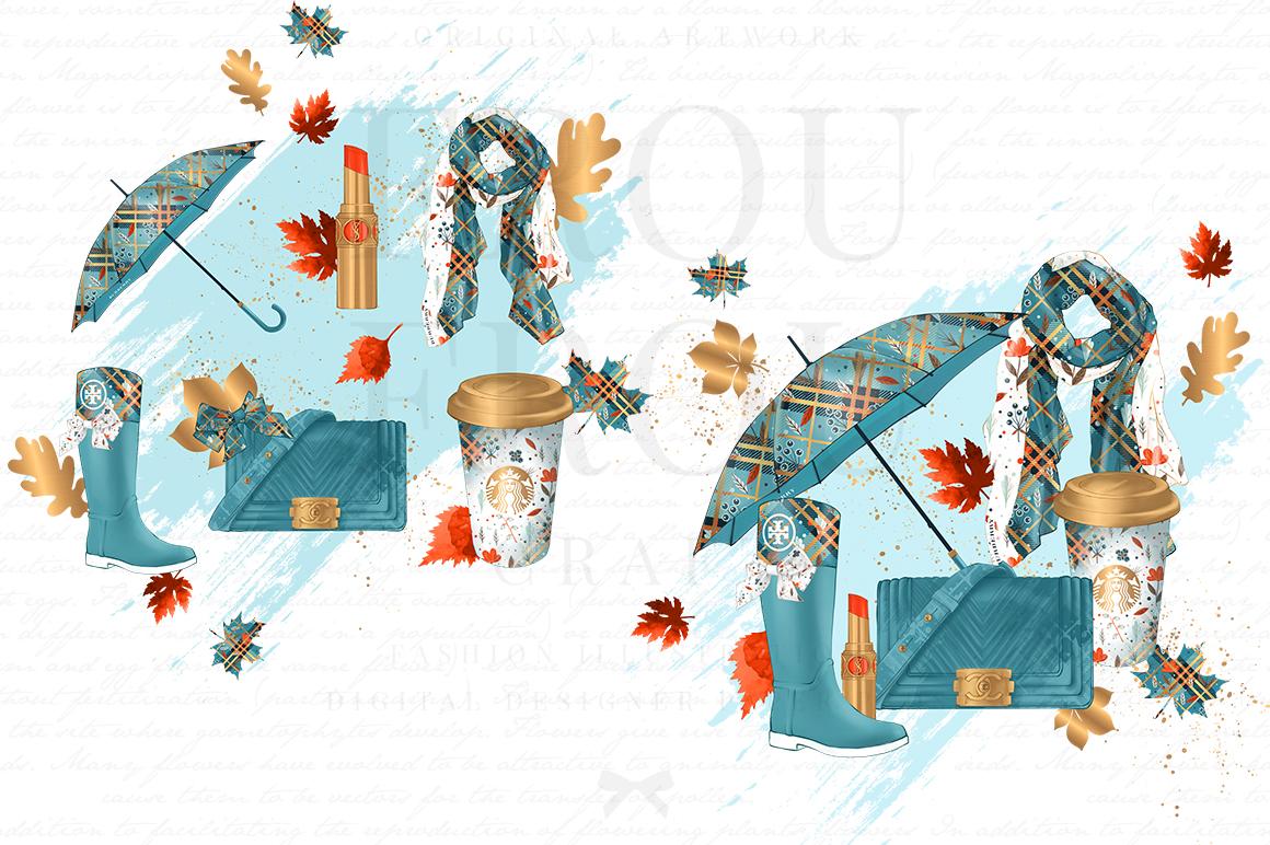 Fall Autumn Leaves Fashion Gold Lipstick Clip Art example image 3