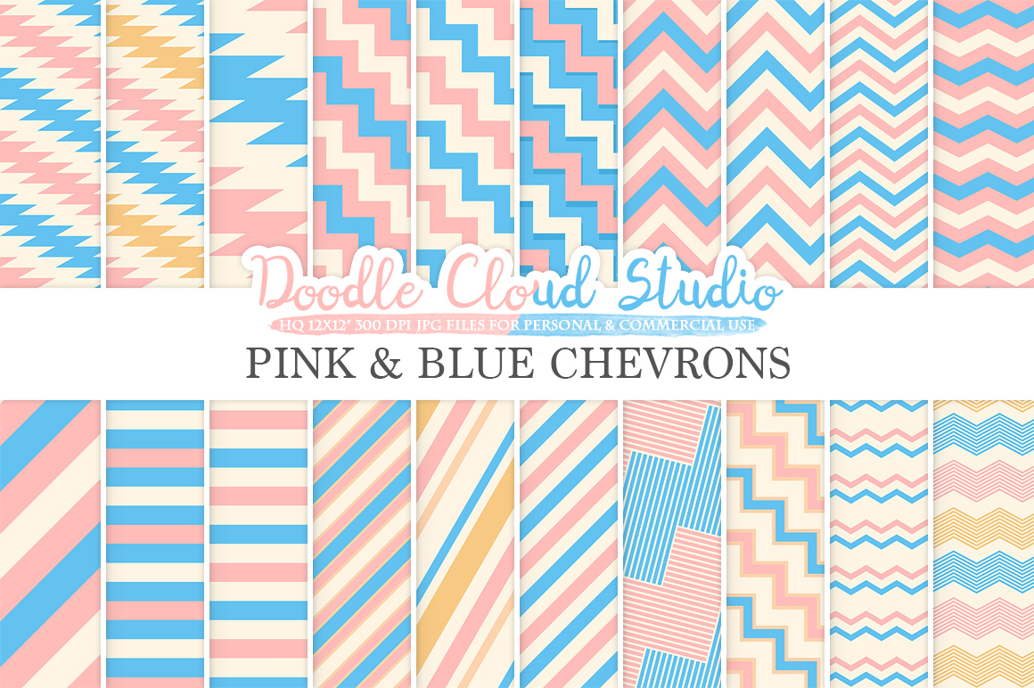Pink and Blue Chevron digital paper, Chevron and Stripes  pattern, Zig Zag lines Pink and Azure background for Personal & Commercial Use example image 1
