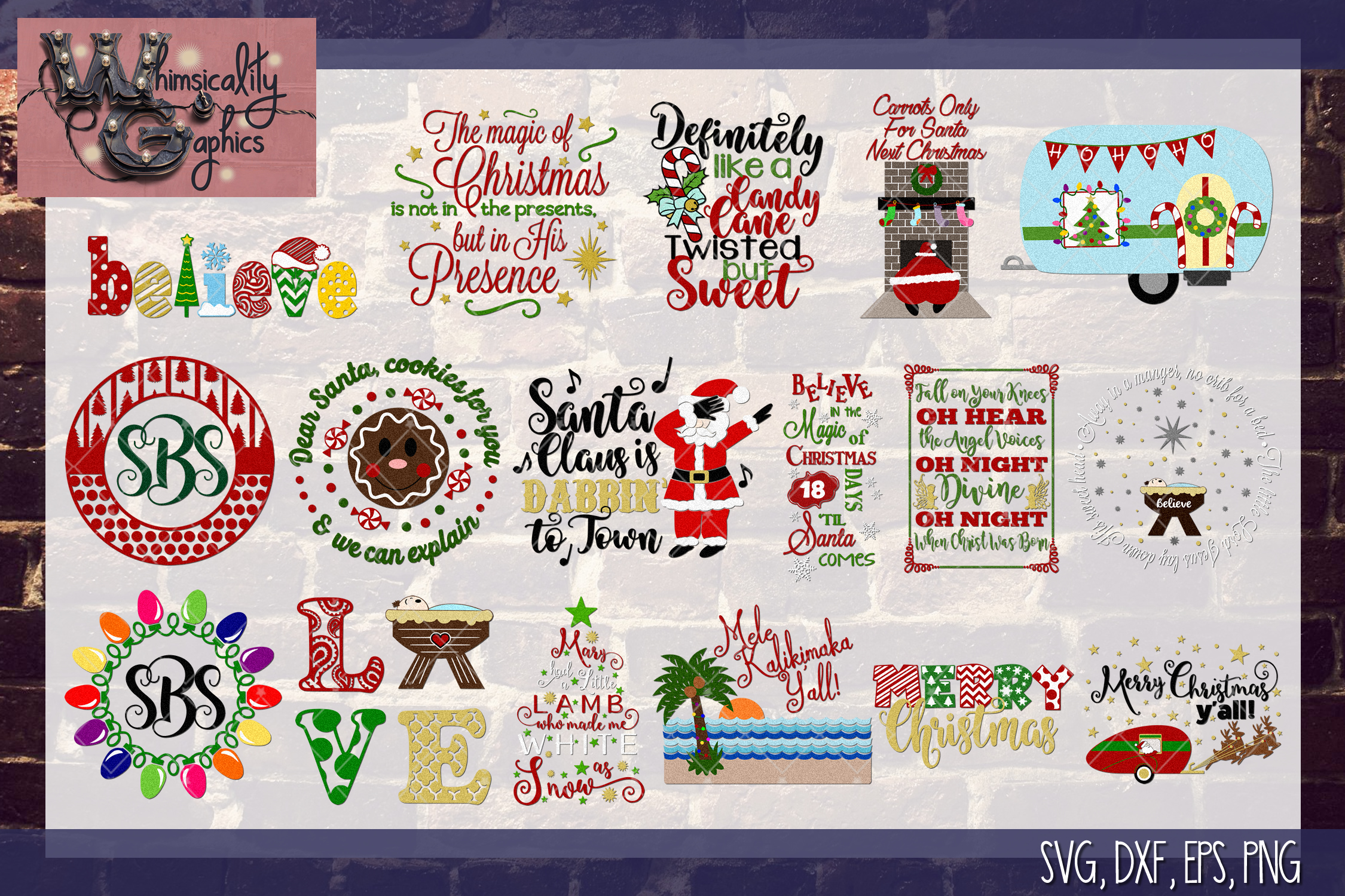 2018 Ultimate Christmas Bundle SVG, DXF, PNG, EPS Comm & Per example image 5