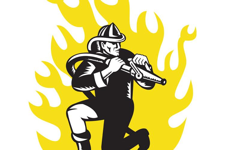 fireman firefighter kneel aim fire hose example image 1