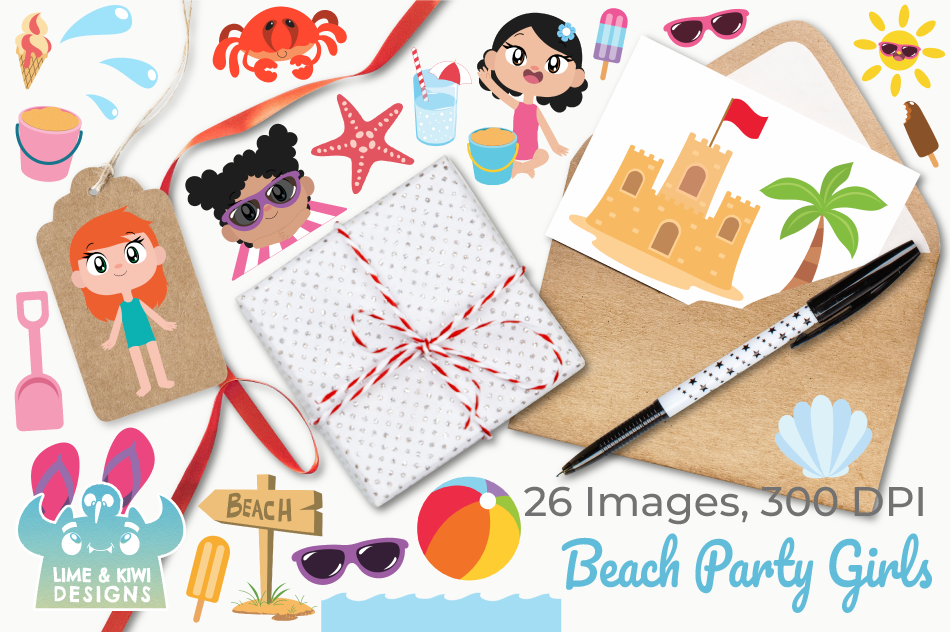 Beach Party Girls Clipart, Instant Download Vector Art example image 4
