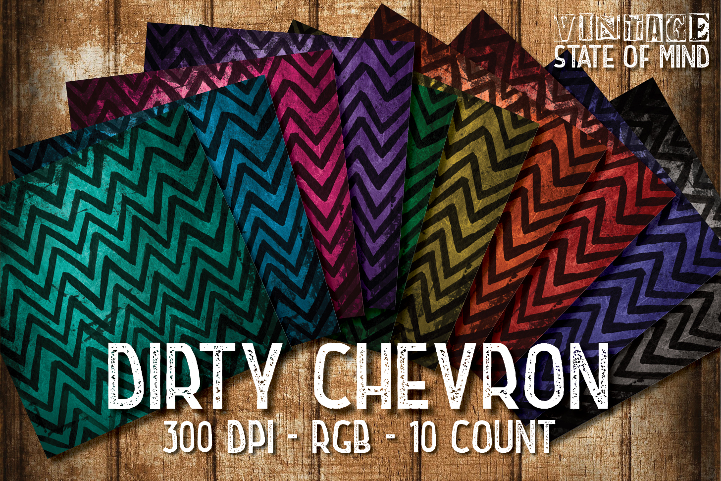 Vintage Chevron Digital Papers example image 1