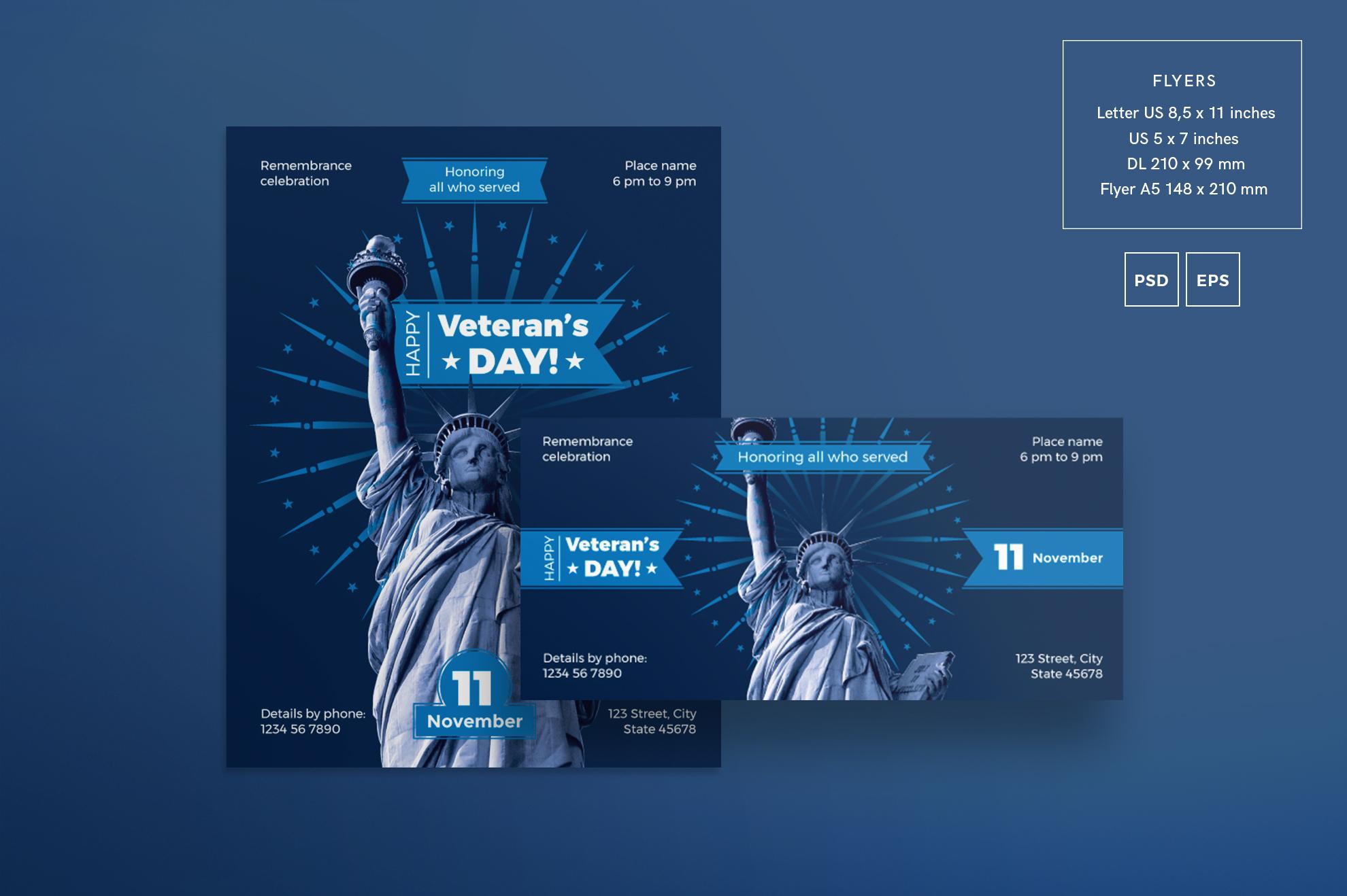Veteran's Day Celebration Design Templates Bundle example image 2