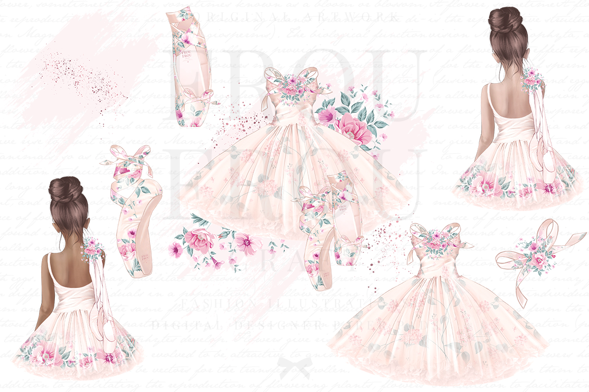 Ballet Watercolor Hand Drawn Child Dress Clipart example image 4