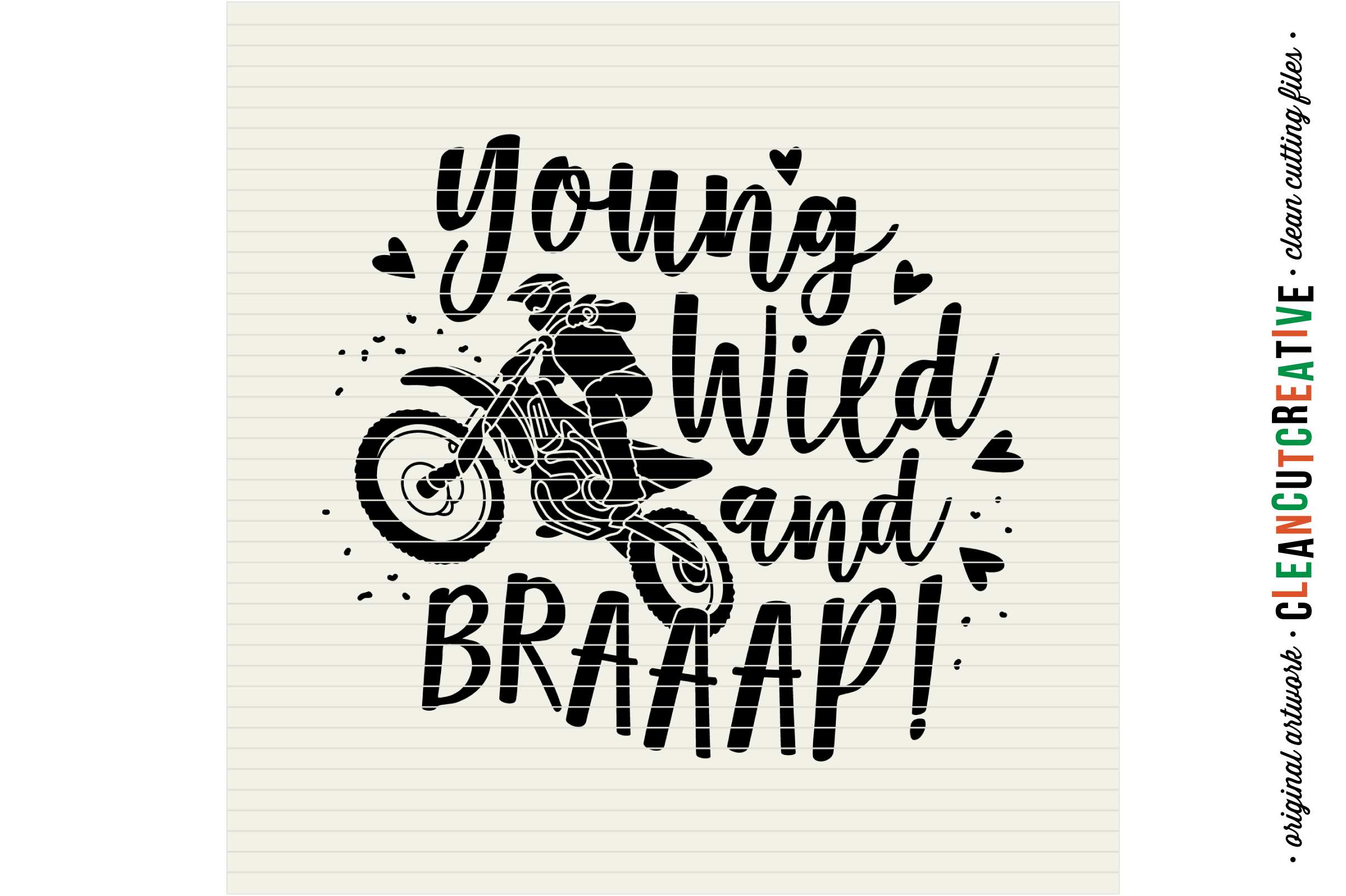 Young Wild and BRAAAP! Girls design for Motocross Dirt Bike Lovers! - SVG DXF EPSPNG - Cricut & Silhouette example image 4