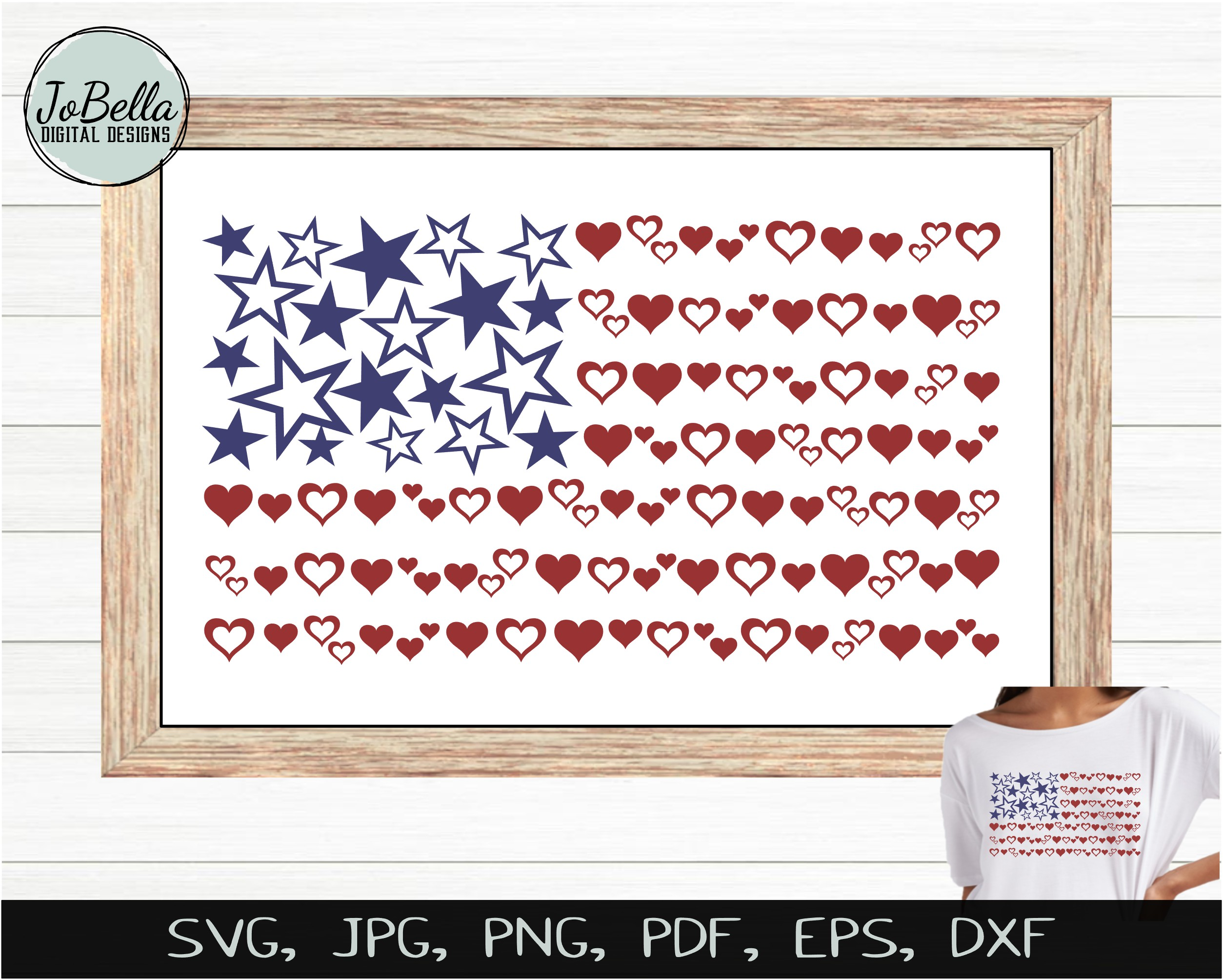 Hearts & Stars American Flag SVG & July 4th Sublimation PNG example image 3