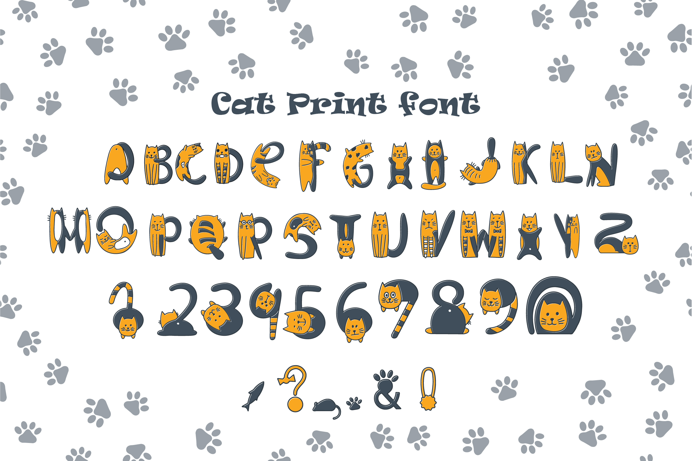 Cats cute OTF color font example image 7
