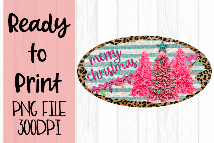 Merry Christmas Pink Tree Trio Oval Ready to Print example image 1