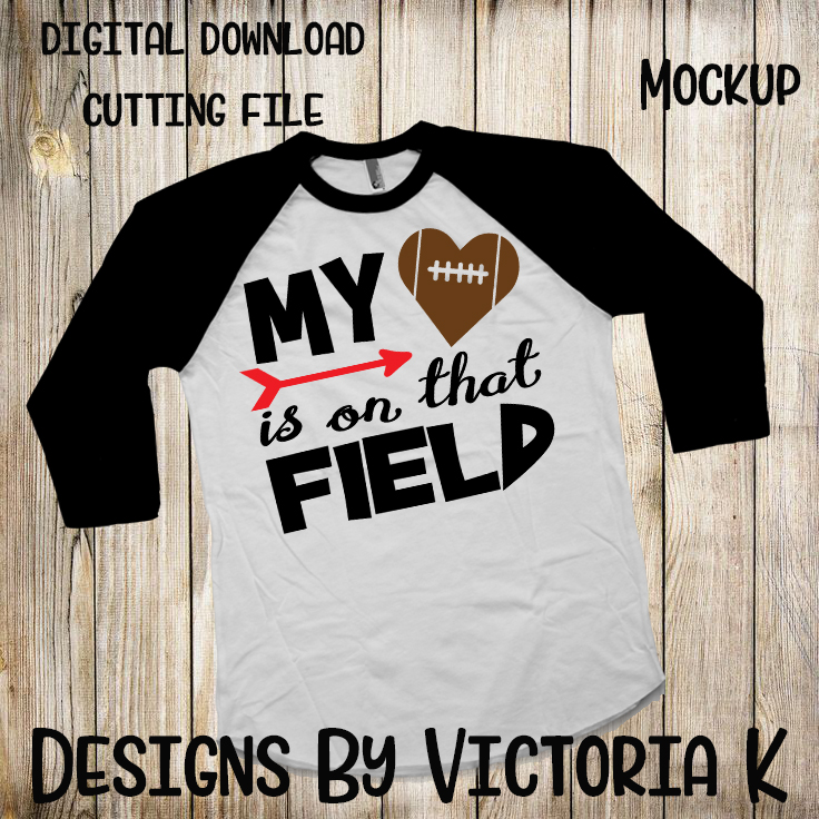 My Heart is on that field, Football, SVG, DXF, PNG example image 2