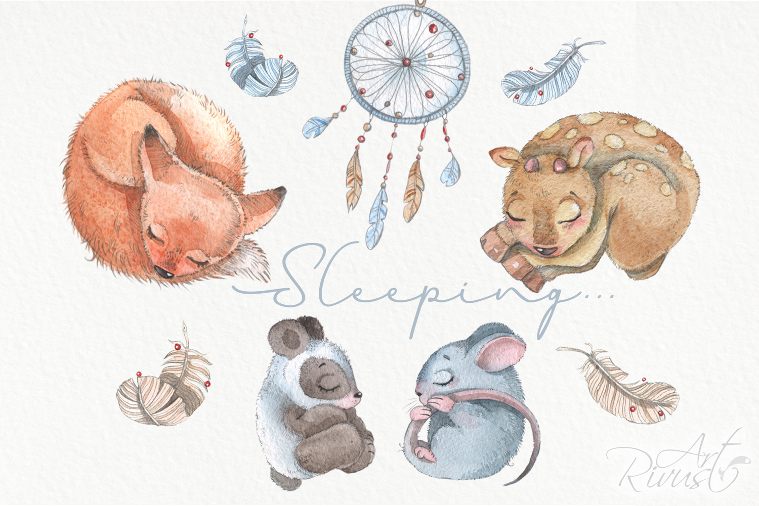 Cute sleeping baby animals watercolor clipart kit example image 6