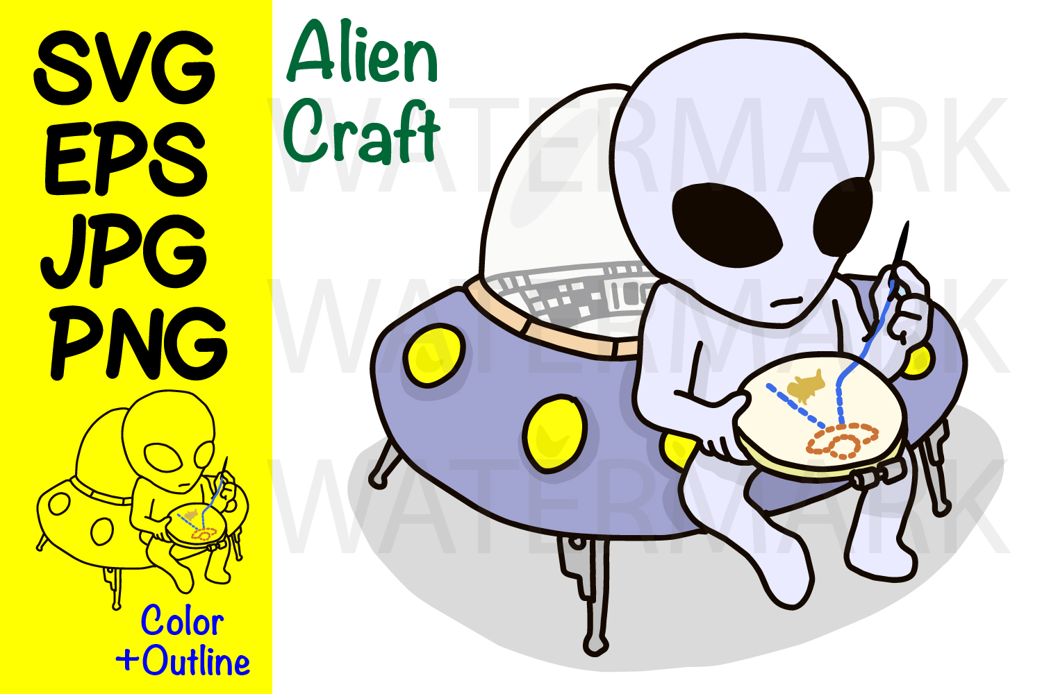 Alien Craft- SVG-EPS-JPG-PNG example image 1