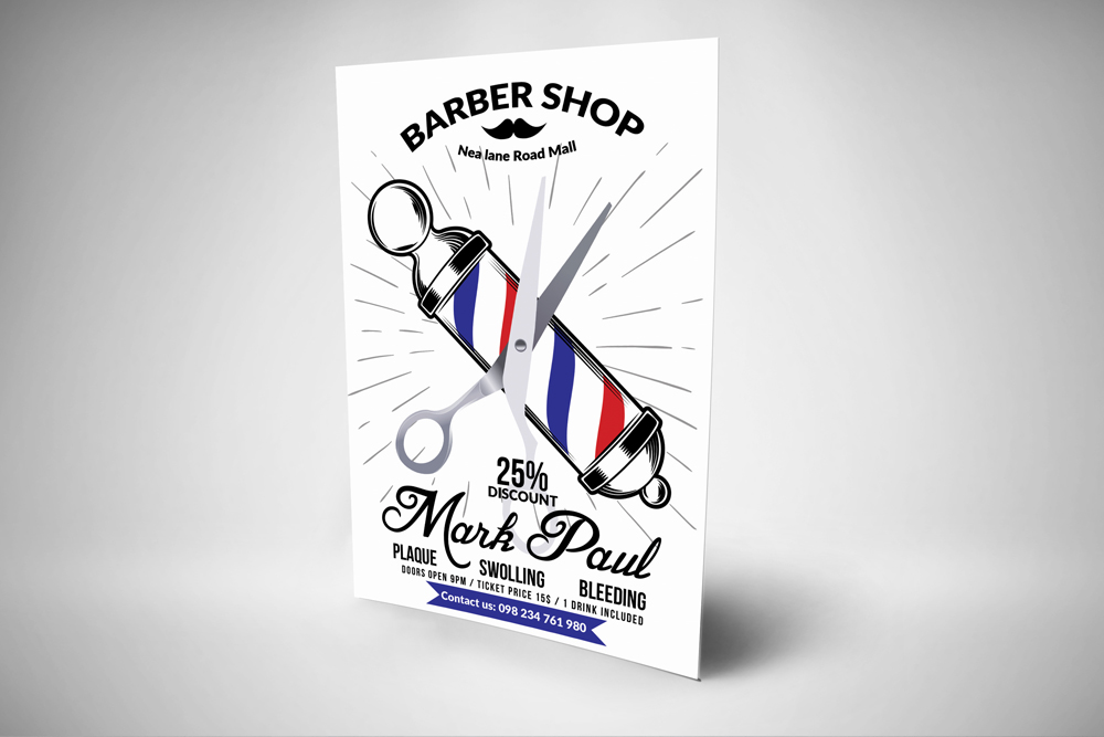 New Barber Shop Psd Flyer Templates example image 3