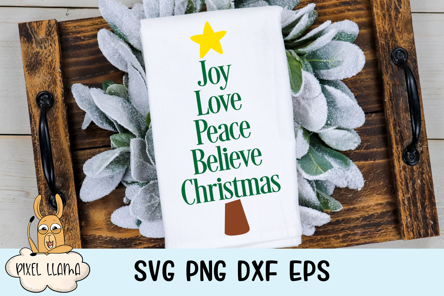 Joy Love Peace Believe Christmas Sign SVG example image 1
