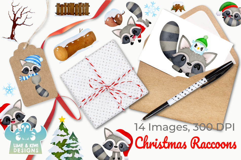 Christmas Raccoons Watercolor Clipart, Instant Download example image 4