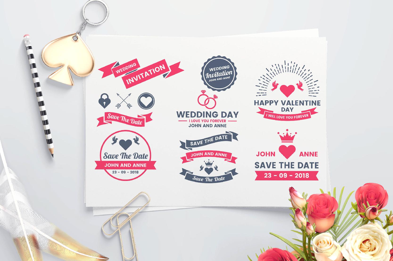 43 WEDDING VINTAGE BADGE & RIBBON example image 8