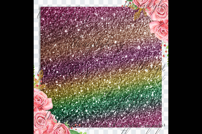 30 Rainbow Shimmering Fairy Unicorn Glitter Digital Papers example image 2