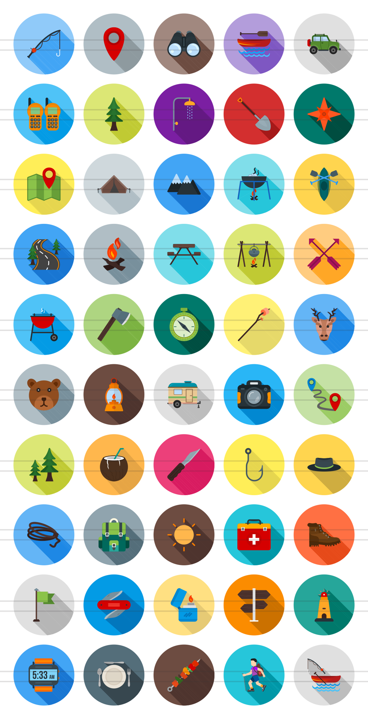 50 Camping Flat Long Shadow Icons example image 2