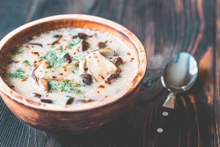 Portion of creamy mushroom soup example image 1