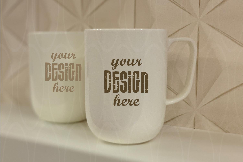 Mugs mock up Styled Stock Photography Blank White example image 1