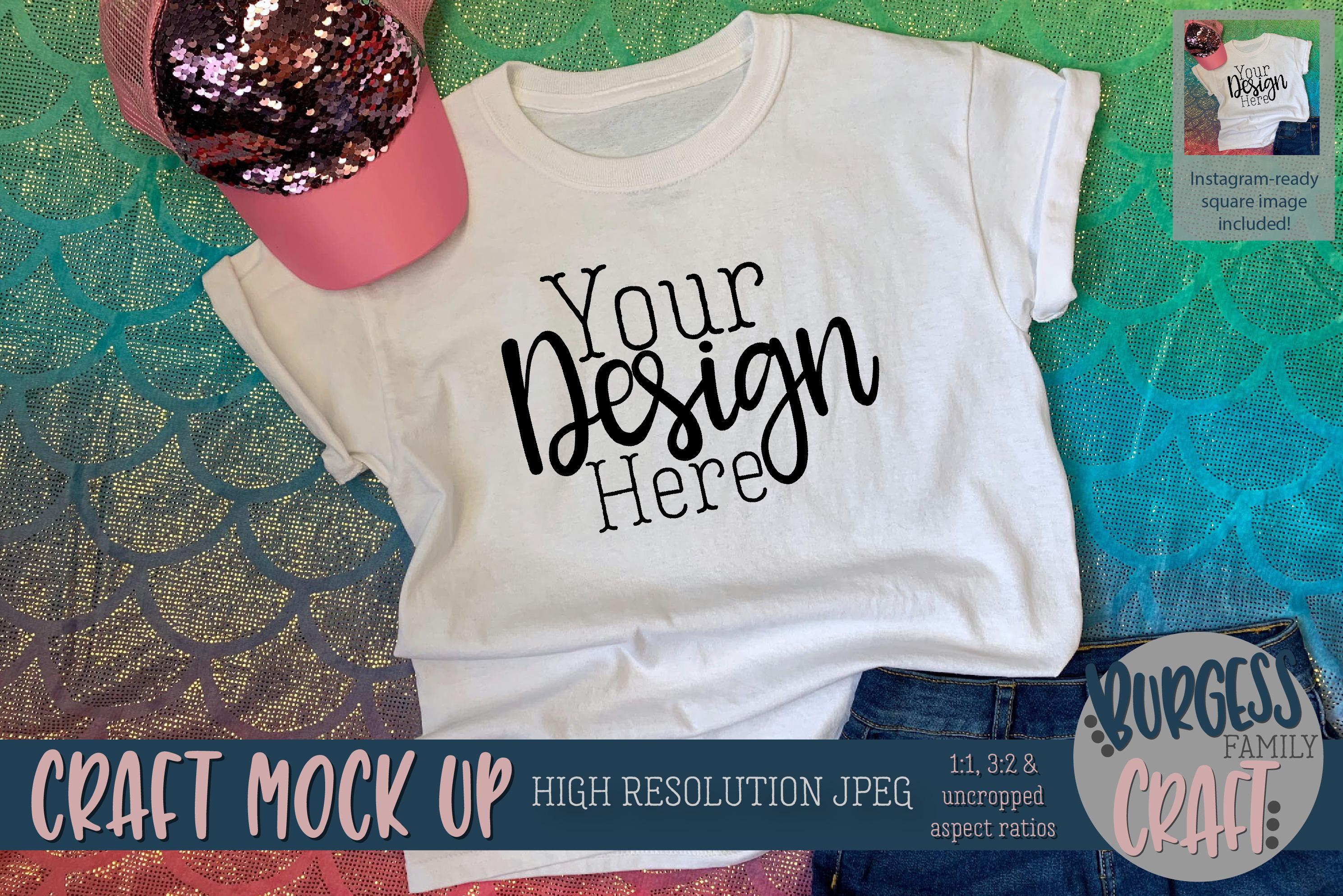 Mermaid shirt Craft mock up | High Resolution JPEG example image 1