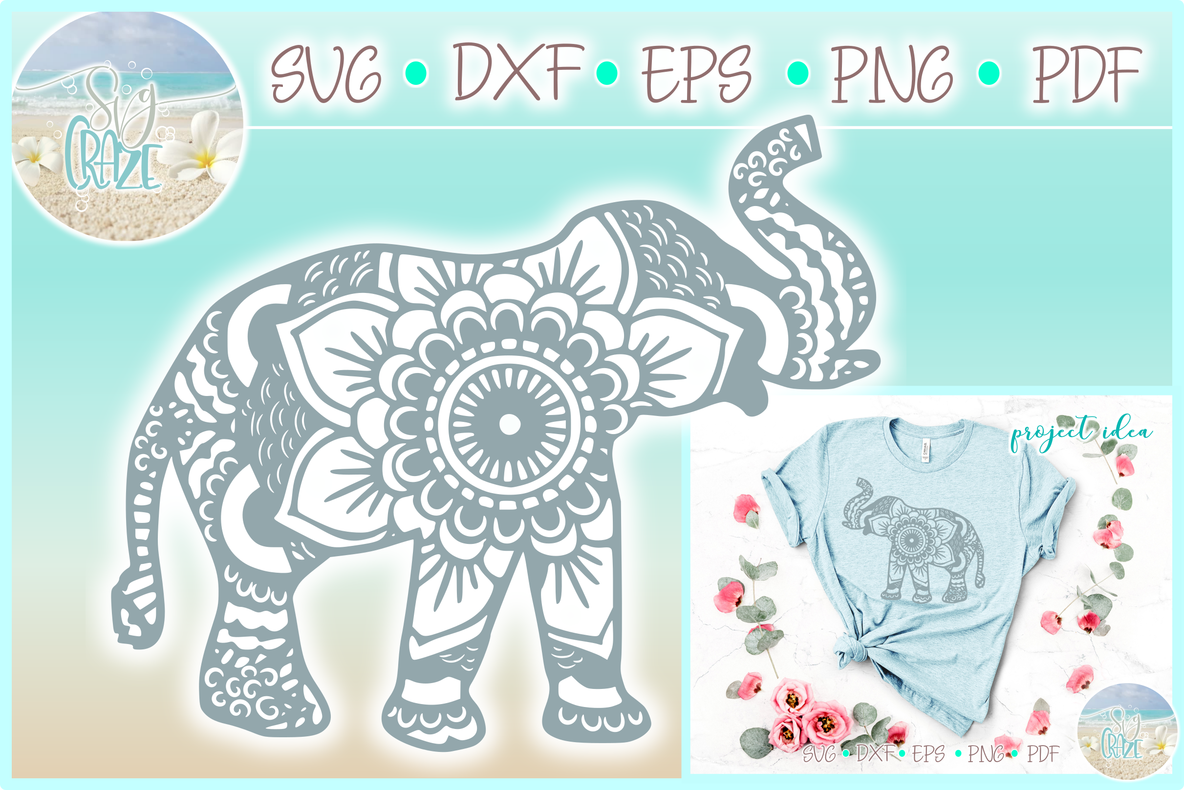Download Elephant Mandala Svg Dxf Eps Png Pdf Files For Cricut